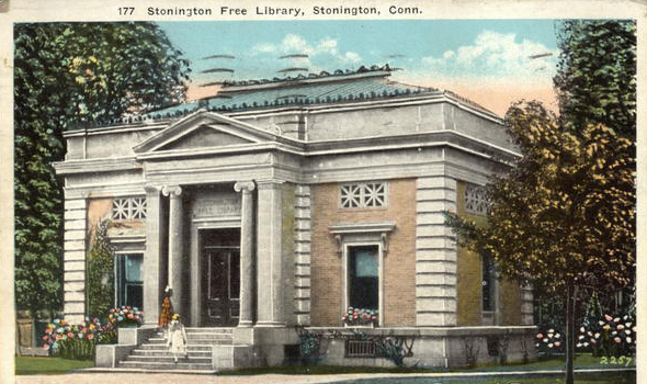 Stonington Free Library historical postcard