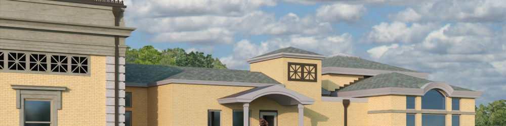 Picture of how the side of the building will look after construction